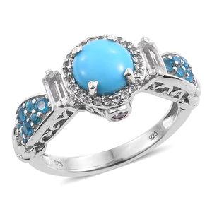 Arizona Sleeping Beauty Turquoise, Multi Gemstone Platinum Over Sterling Silver Ring (Size 6.0) TGW 3.25 cts.