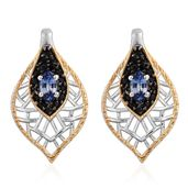 Ceylon Blue Sapphire, Thai Black Spinel 14K YG and Platinum Over Sterling Silver Earrings TGW 1.13 cts.