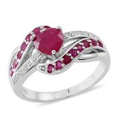 Niassa Ruby, Ruby, Cambodian Zircon Sterling Silver Ring (Size 10.0) TGW 2.54 cts.