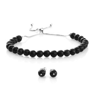 One Day TLV Burmese Black Jade Sterling Silver Stud Earrings and Magic Ball Bracelet (Adjustable) TGW 43.00 cts.