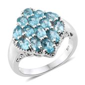 Madagascar Paraiba Apatite Platinum Over Sterling Silver Cluster Ring (Size 10.0) TGW 3.70 cts.