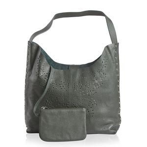 Forest Green Genuine Leather Laser Cut Studded Tote (10.5x13.1x3.9 in) with Matching RFID Clutch Wallet (6.5x4.5 in)