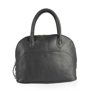 Black Genuine Leather RFID Satchel Bag (11.41x4.33x9.44 in) with Removable Strap (54 in)