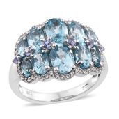 Cambodian Blue Zircon, Tanzanite, Cambodian Zircon Platinum Over Sterling Silver Ring (Size 7.0) TGW 7.58 cts.