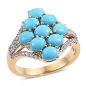Arizona Sleeping Beauty Turquoise, Cambodian Zircon 14K YG Over Sterling Silver Ring (Size 6.0) TGW 4.02 cts.