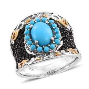 Arizona Sleeping Beauty Turquoise, Thai Black Spinel 14K YG and Platinum Over Sterling Silver Concave Ring (Size 7.0) TGW 2.95 cts.