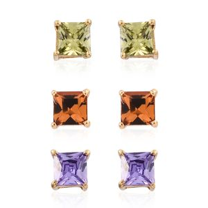 Set of 3 Simulated Purple and Green Diamond 14K YG Over Sterling Silver Stud Earrings Made with SWAROVSKI Orange Crystal TGW 2.42 cts.