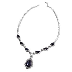 Blue Sandstone Silvrtone & Iron Necklace (22 in) TGW 50.00 cts.