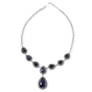 Sodalite Silvertone Necklace (22 in) TGW 60.00 cts.