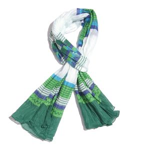 Green and Blue Striped Pattern 100% Cotton Scarf (40x72 in)