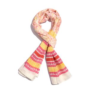 Mustard and Maroon Striped Pattern 100% Cotton Scarf (40x72 in)
