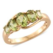 Hebei Peridot 14K YG Over Sterling Silver 5 Stone Ring (Size 6.0) TGW 2.18 cts.
