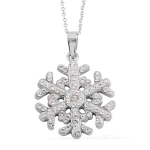 Austrian Crystal Sterling Silver Snowflake Pendant With Chain