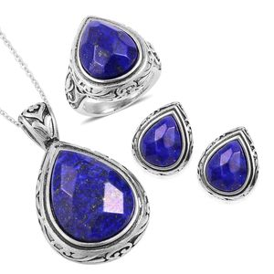 Lapis Lazuli Black Oxidized Stainless Steel Earrings, Ring (Size 11) and Pendant With Chain (20 in) TGW 44.40 cts.