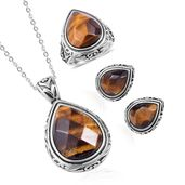 South African Tigers Eye Black Oxidized Stainless Steel Earrings, Ring (Size 10) and Pendant With Chain (20 in) TGW 38.00 cts.