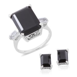 Thai Black Spinel, White Topaz Sterling Silver Stud Earrings and Ring (Size 7) TGW 18.20 cts.