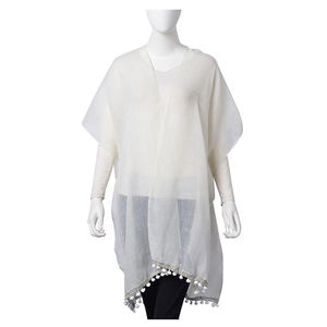 White 20% Viscose and 80% Polyester Flower Lace Kimono (35.44x32.29 in)