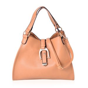 Camel Faux Leather Hobo Bag with Standing Studs and Shoulder Strap (13.5x6x10 in)