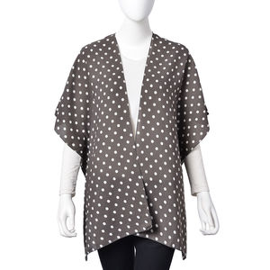 Gray with White Dot Pattern 100% Polyester Kimono (28.35x36.22 in)