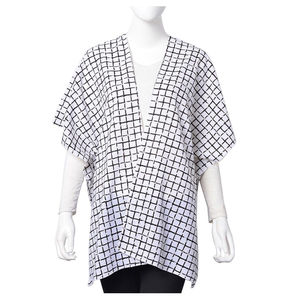 White with Black Chequer Pattern 100% Polyester Kimono (27.56x35.44 in)