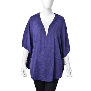 Navy 80% Polyester & 20% Viscose Open Poncho with Hook and Eye Closure (One Size)