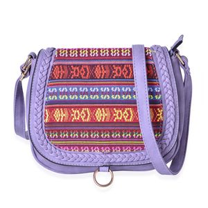 Lavender Faux Leather Santa Fe Embroidered Saddle Crossbody Bag (10x3x8.5 in)