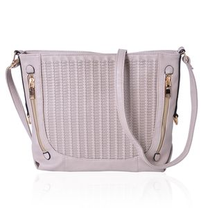 Stone Faux Leather Weave Crossbody Bag (14x5x10.5 in)