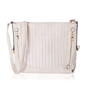 Cream Faux Leather Weave Crossbody Bag (14x5x10.5 in)