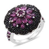 Purple Garnet, Thai Black Spinel Black Rhodium & Platinum Over Sterling Silver Ring (Size 6.0) TGW 6.19 cts.