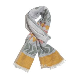 Gray, Mustard and Green 50% Cotton & 50% Acrylic Heart Pattern Scarf (76x30 in)