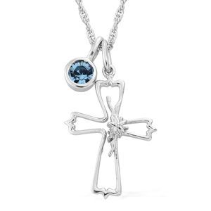 KASI Collection - Always Believe Platinum Over Sterling Silver Pendant and Charm with Chain (16 in) Made with SWAROVSKI Crystal TGW 0.20 cts.