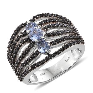 Ceylon Blue Sapphire, Thai Black Spinel Black Rhodium and Platinum Over Sterling Silver Ring (Size 6.0) TGW 2.79 cts.