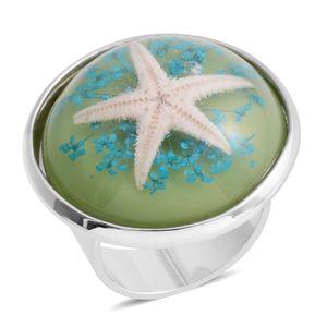 Silvertone Starfish Ring (Adjustable)