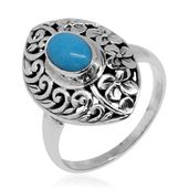 Bali Legacy Collection Arizona Sleeping Beauty Turquoise Sterling Silver Floral Engraved Ring (Size 9.0) TGW 1.10 cts.