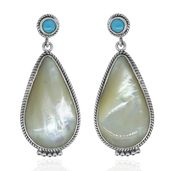Bali Legacy Collection Mother of Pearl, Arizona Sleeping Beauty Turquoise Sterling Silver Earrings TGW 8.83 cts.