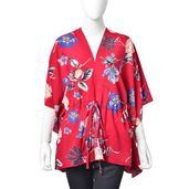 Red with Multi Color Floarl Pattern 100% Polyester Kimono (27.56x38.59 in) with Adjustable Waistband