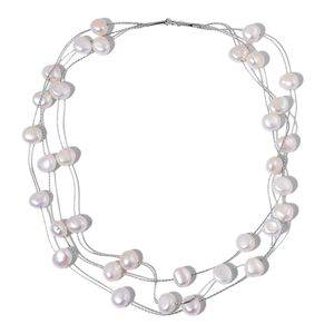 Freshwater Pearl Sterling Silver Triple Strand Necklace (18 in)