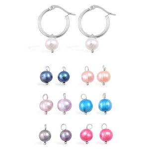 Freshwater Pearl - Multi Color Stainless Steel Set of 7 Interchangeable Hoop Earrings
