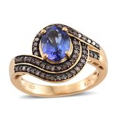 Year End Special Premium AAA Tanzanite, Champagne Diamond 14K YG Over Sterling Silver Ring (Size 9.0) TDiaWt 0.33 cts, TGW 2.38 cts.