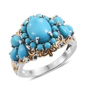 Arizona Sleeping Beauty Turquoise, Cambodian Zircon 14K YG and Platinum Over Sterling Silver Ring (Size 10.0) TGW 5.39 cts.
