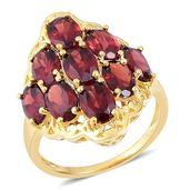 Mozambique Garnet 14K YG Over Sterling Silver Ring (Size 8.0) TGW 8.35 cts.