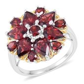 Mozambique Garnet 14K YG Over Sterling Silver Flower Ring (Size 5.0) TGW 6.52 cts.