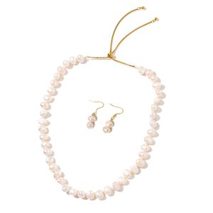 Freshwater Pearl ION Plated YG and Stainless Steel Earrings and Necklace (Adjustable)