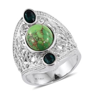 Mojave Green Turquoise Stainless Steel Elongated Openwork Ring (Size 9.0) Made with SWAROVSKI Emerald Crystal TGW 5.75 cts.