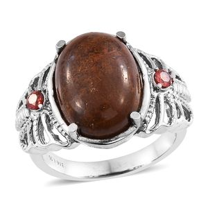 Aqua Nueva Moss, Simulated Garnet Stainless Steel Openwork Butterfly Ring (Size 7.0) TGW 12.26 cts.