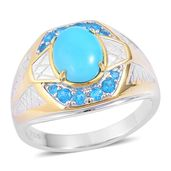 Arizona Sleeping Beauty Turquoise, Malgache Neon Apatite 14K Over and Sterling Silver Men's Ring (Size 12.0) TGW 2.25 cts.
