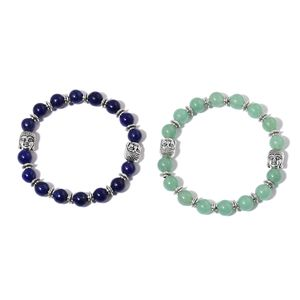 Set of 2 Green Aventurine, Lapis Lazuli Black Oxidized Silvertone Bracelets (Stretchable) TGW 162.00 cts.