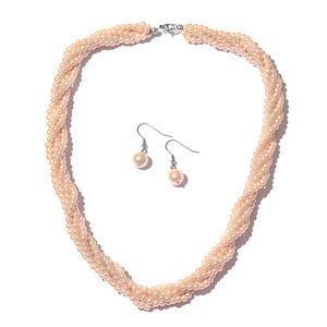 Simulated Rose Pink Pearl Stainless Steel Earrings and Twisted Multi Strand Necklace (20 in)