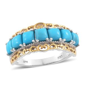 One Time Only Arizona Sleeping Beauty Turquoise 14K YG and Platinum Over Sterling Silver Ring (Size 5.0) TGW 2.75 cts.