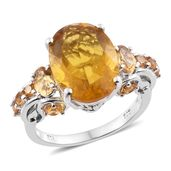 Canary Fluorite, Brazilian Citrine Platinum Over Sterling Silver Ring (Size 10.0) TGW 12.51 cts.
